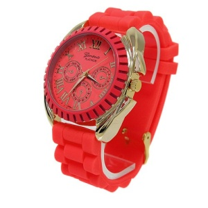 watch 592a 08 lg rubber gold neon pink coral