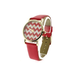 watch 712a 08 9746 leather like strap chevron pink gold