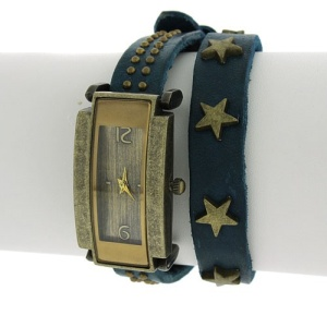 watch 763a 88 rectangle star stud wrap around blue bronze