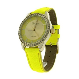 watch 779b 08 round metal crystal gold neon yellow