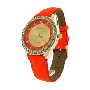 watch 784b 08 round metal crystal gold neon orange