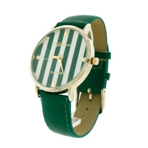 watch 789 08 9732 leather like stripe face green
