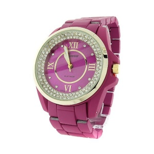 watch 842 08 link metal crystal gold light purple