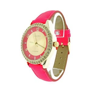 watch 850 08 round crystal gold neon pink