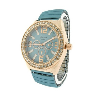 watch 855 08 stretch metal crystal gold blue