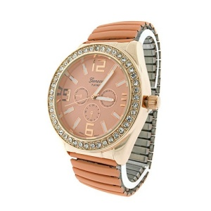 watch 857 08 stretch metal crystal gold pink