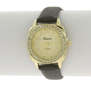 watch 916 08 2354 thin round crystal taupe gold