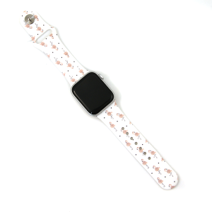 Watch Band 056b 08 Silicon Rubber Flamingo Pink White 38mm 40mm