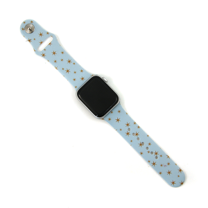 Watch Band 060a 08 Silicon Rubber assorted stars gold light blue 38mm 40mm