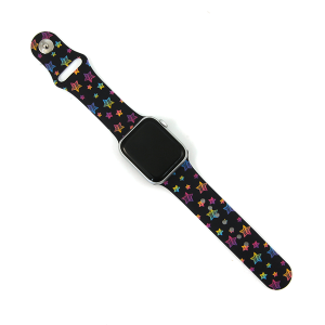 Watch Band 061f 08 Silicon Rubber Assorted Stars Multi Black 38mm 40mm