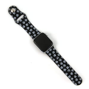 Watch Band 073 08 Silicon Rubber Dog Paws Black Gray 38mm 40mm