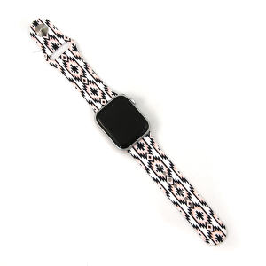 Watch Band 074e 08 Silicon Rubber aztec pink white 38mm 40mm