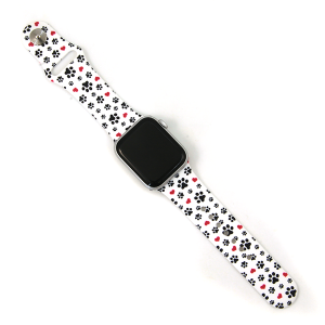 Watch Band 080c 08 Silicon Rubber Dog Paws Heart Black White 38mm 40mm