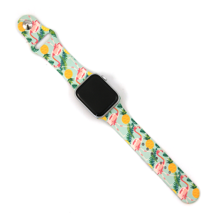 Watch Band 092f 08 Silicon Rubber pineapple flamingo turquoise 38mm 40mm