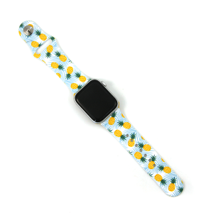 Watch Band 105c 08 Silicon Rubber Tropical Leaves Pineapple 38mm 40mm
