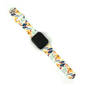 Watch Band 111c 08 Silicon Rubber floral leaves multi 38mm 40mm