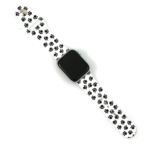 Watch Band 132c 08 Silicon Rubber Dog Paws Black White 38mm 40mm