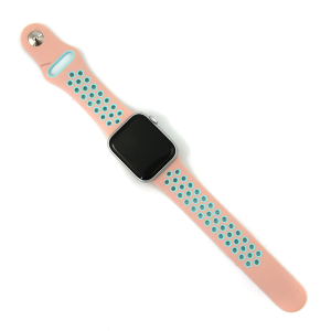 Watch Band 158b 08 Silicon Rubber Sport Loop Green Pink 38mm 40mm