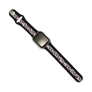 Watch Band 043b 08 stripe black leopard light 38mm 40mm