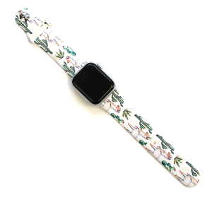 Watch Band 043a 08 Rubber Watch Band 38mm 40mm cactus llama