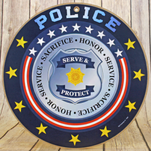 wooden sign round police