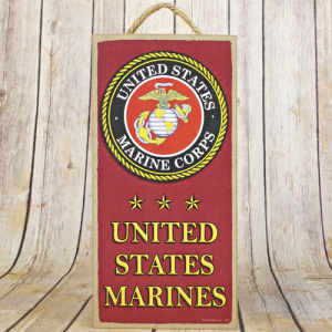 wooden sign tall Marines red