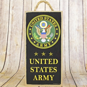 wooden sign tall US Army black
