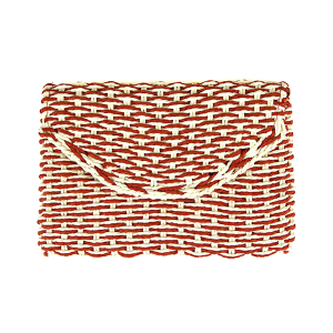 Mika woven straw clutch red