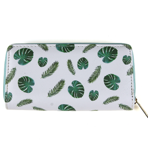 Bijorca WT326X253 zipper wallet tropical leaves green