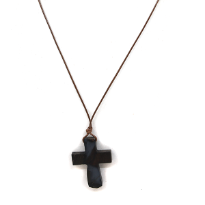 Necklace 1492F 77 Pomina Wooden string cross necklace black/brown