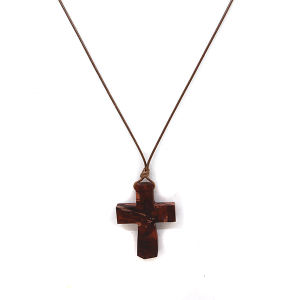 Necklace 1462A 77 Pomina Wooden Cross string necklace brown