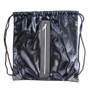 Shiny sack & string backpack with zipper Black