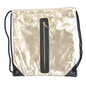 Shiny sack & string backpack with zipper Gold