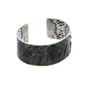 Bracelet 595b 01 City cuff leather python snake black