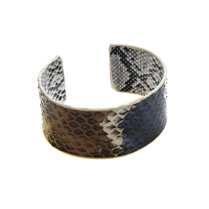Bracelet 587c 01 City cuff leather python snake yellow