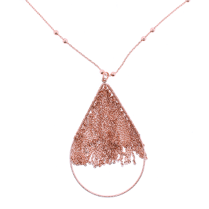 (Necklace 1904 01 Influence) Tear Drop Chain Drop Rose Gold
