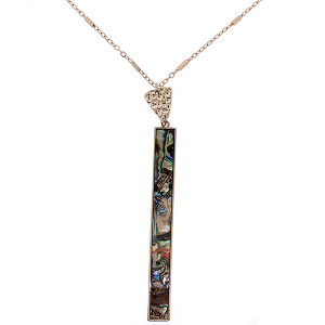 (Necklace 1907 01 Influence) Abalone long rectangle gold