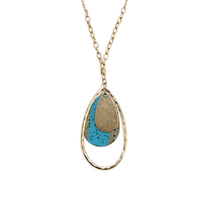 Necklace 858 01 Influence tear drop hoop chain necklace turquoise