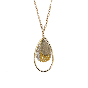 Necklace 865 01 Influence tear drop hoop chain necklace mustard