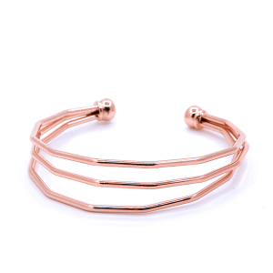 (Bracelet 695 01 CiTY) straight three band curve cuff rose gold