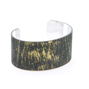 Bracelet 474b 01 CiTY leather metallic open cuff black