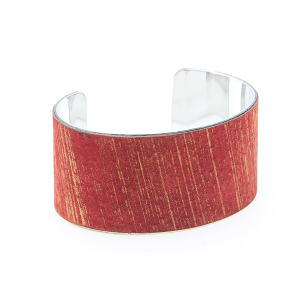 Bracelet 492a 01 CiTY leather metallic open cuff red