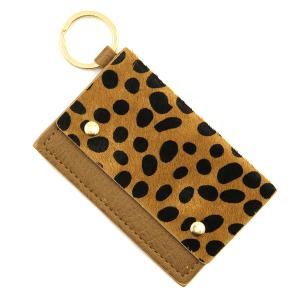 Keychain 137b 01 cow print card holder brown