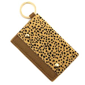 Keychain 108a 01 cheetah print card holder brown
