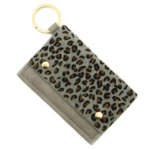 Keychain 098b 01 leopard print card holder gray