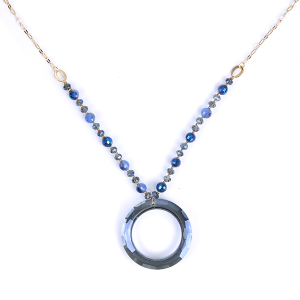 (Necklace 1613 01 CiTY) Glass hoop  bead chain blue