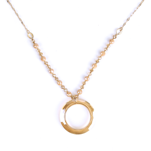 (Necklace 1628 01 CiTY) Glass hoop  bead chain champagne