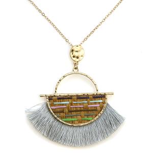 Necklace 307a 01 CiTY fringe fan semi stripe necklace gray