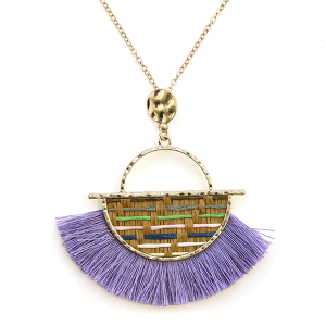 Necklace 424a 01 CiTY fringe fan semi stripe necklace lavender