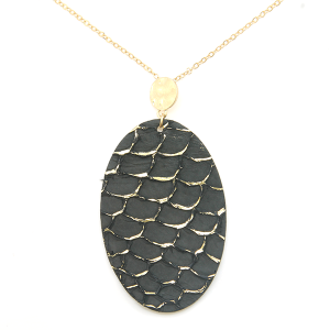 Necklace 441a 01 CiTY oval leather scales gold accent black